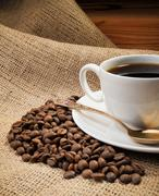 coffee beans with cup - stock photo
