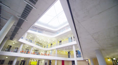 Interior view of a large modern university building. No people. - stock footage