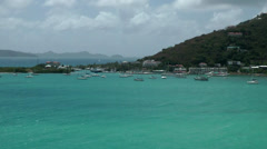 British Virgin Islands Tortola Road Town 073 the bay with turquoise water Stock Footage