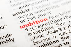 Ambition Word Definition Stock Photos