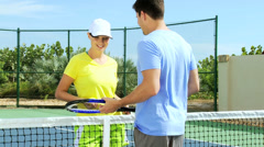 Young Caucasian Male Female Outdoor Tennis Players Stock Footage