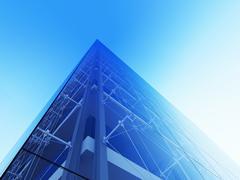skyscraper facade (3d modern city street urban style series) - stock illustration