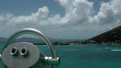 British Virgin Islands Tortola Road Town 076 the bay behind binoculars - stock footage