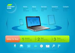 website template: notebook with touchpad and smartphone at the back. - stock illustration