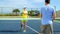 Male Female Sportswear Enjoying Healthy Tennis Lifestyle - stock footage