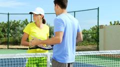 Healthy Caucasian Couple Outdoor Tennis Court Stock Footage
