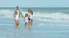 Casual Dressed Caucasian Family Autumn Outdoors Together Beach - stock footage
