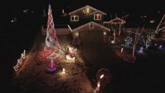AERIAL - Colorful Christmas Holiday Light Show - stock footage