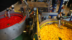 Manufacturing of Lego toy bricks Stock Footage