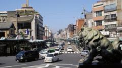 Street scene in Kyoto,seen from shrine yasaka-jinja Stock Footage