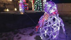 Blinking Penguin Colorful Christmas Holiday Light Show - stock footage