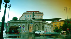 Cars go near to Albertina Museum in Vienna, Austria Stock Footage