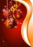 Stock Illustration of Christmas balls on a red festive background