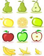 Stock Illustration of Set of vector fruits on white background,  illustration