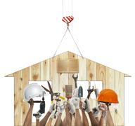 Home and hand rising diy tool equipment against wood house use for home craft Stock Photos