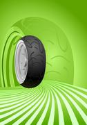 Vector motorcycle tire on a green background - stock illustration