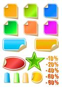 Stock Illustration of Vector set of color stickers, vector illustration