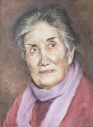 oil on canvas of a sympathetic grandmother - stock illustration