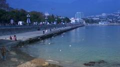 Gulls flying on the coast of Yalta Stock Footage