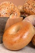 Variety of different types of bagels Stock Photos