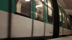 Metro train leaving (Paris) Stock Footage
