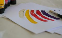 strokes done by acrylic paints - stock photo