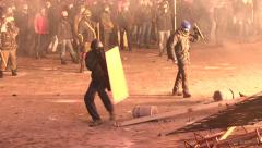 Protesters attacked police, throwing stones, set cars alight - stock footage