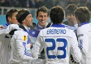 Stock Photo of fc dynamo kiev players celebrate after scored a goal