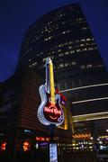 hard rock cafe signboard at the city of warsaw - stock photo