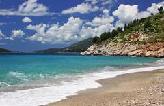 Adriatic seacoast near Sveti Stefan, Montenegro - stock photo