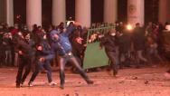 Stock Video Footage of Protesters attacked police, throwing stones, set cars alight
