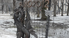 Dragon metal_park of the forged figures Stock Footage