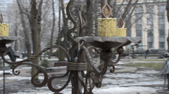 Candelabrum_park of the forged figures Stock Footage