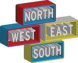 Stock Illustration of 3d north east south west sign