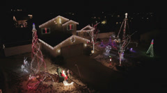 AERIAL - Colorful Christmas Holiday Light Show Stock Footage