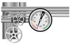 Gas pipe valve and pressure meter - stock illustration