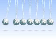 Stock Illustration of Balancing golf ball, abstract vector background