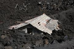 etna destructed house - stock photo
