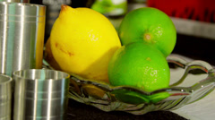 Cocktail fruit behind bar in dish Stock Footage