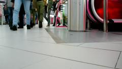 Entry and exit of people on the escalator Stock Footage