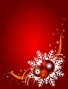 Stock Illustration of Christmas balls on a red festive background,