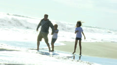 Father Young Daughters Fall Beach Vacation Stock Footage