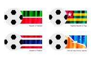 Stock Illustration of Football with Tatarstan, Togo, Thailand and Tierra del Fuego Flag
