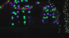 Blinking Snowman Colorful Christmas Holiday Light Show - stock footage