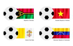Soccer Ball with Vanuatu, Vietnam, Vatican and Venezuela Flag Stock Illustration