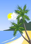 Palm tree on the tropical beach - stock illustration