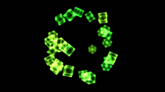 Bright Rotating Cubes - Loop Green Stock Footage