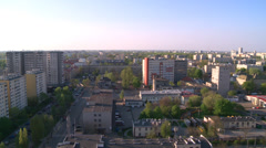 Warsaw - long shot from roof in centrum of city Stock Footage