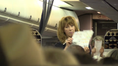 Airline attendant, safety program Stock Footage