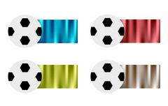 Four Soccer Balls with Blue, Red, Green and Siver Flag - stock illustration